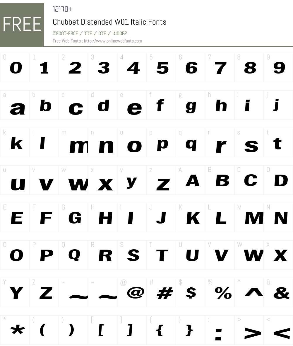 ChubbetDistendedW01-Italic Font Screenshots