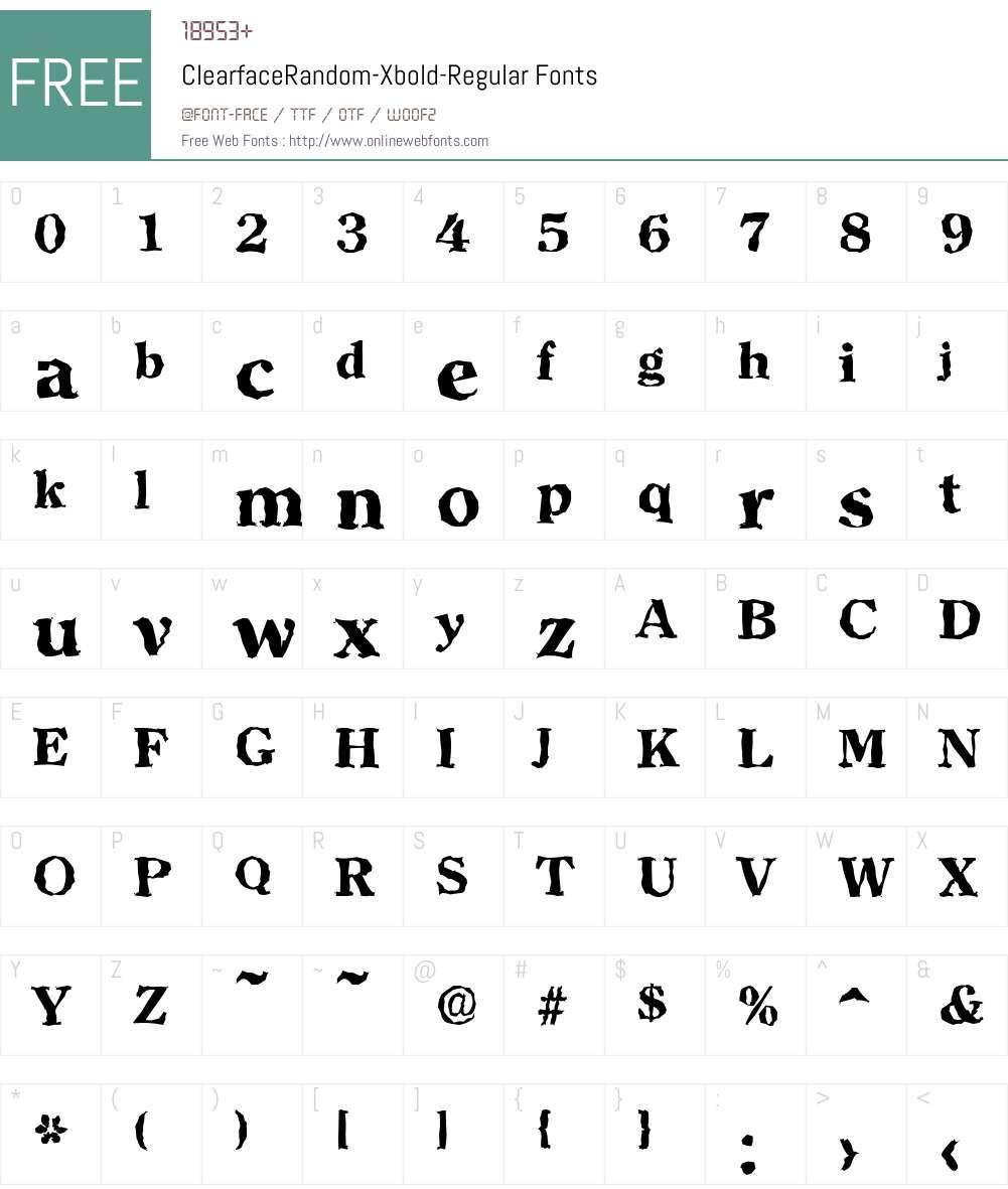 ClearfaceRandom-Xbold Font Screenshots
