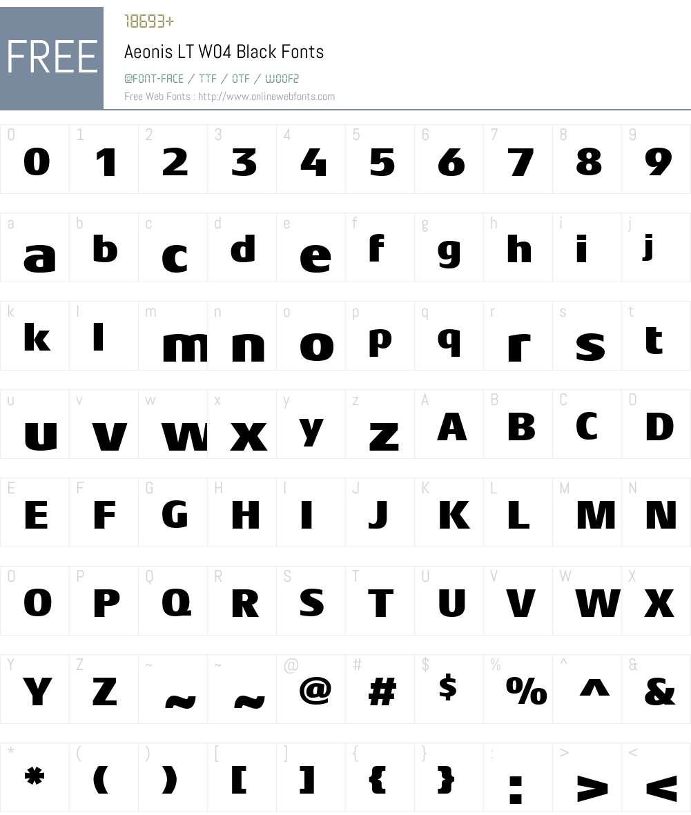 AeonisLTW04-Black Font Screenshots