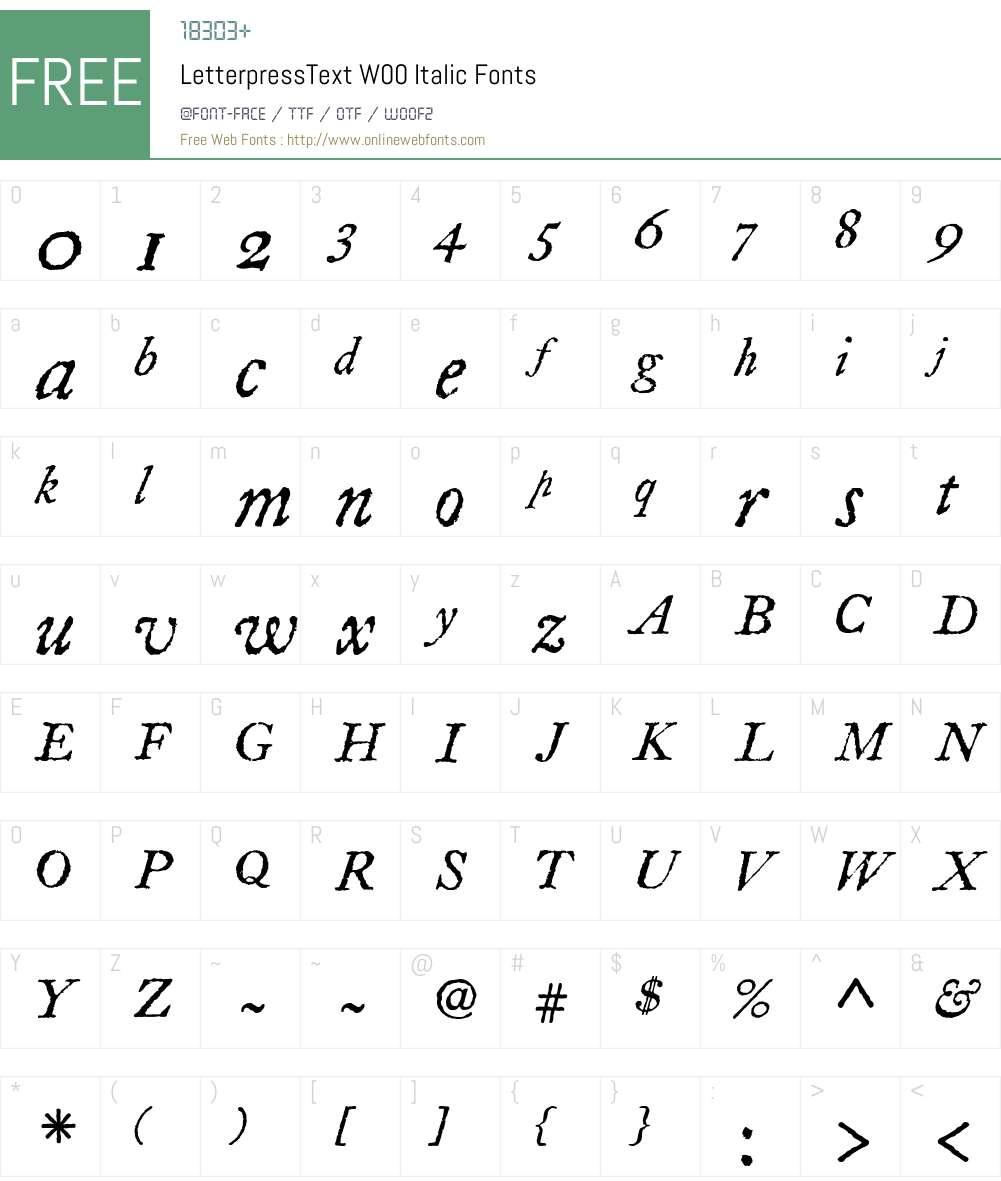 LetterpressText Font Screenshots