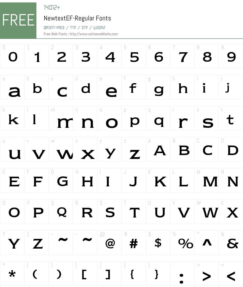 NewtextEF Font Screenshots