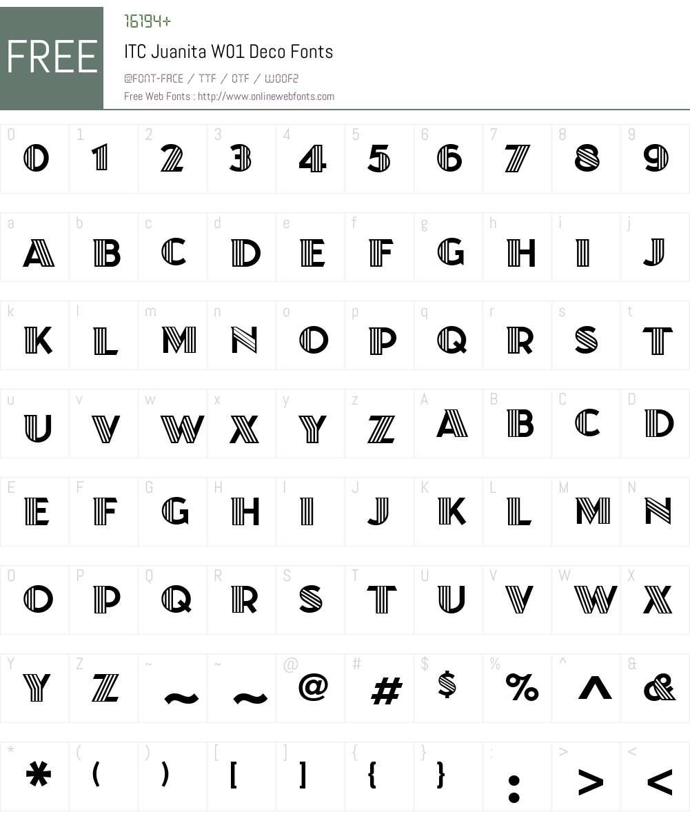 ITCJuanitaW01-Deco Font Screenshots