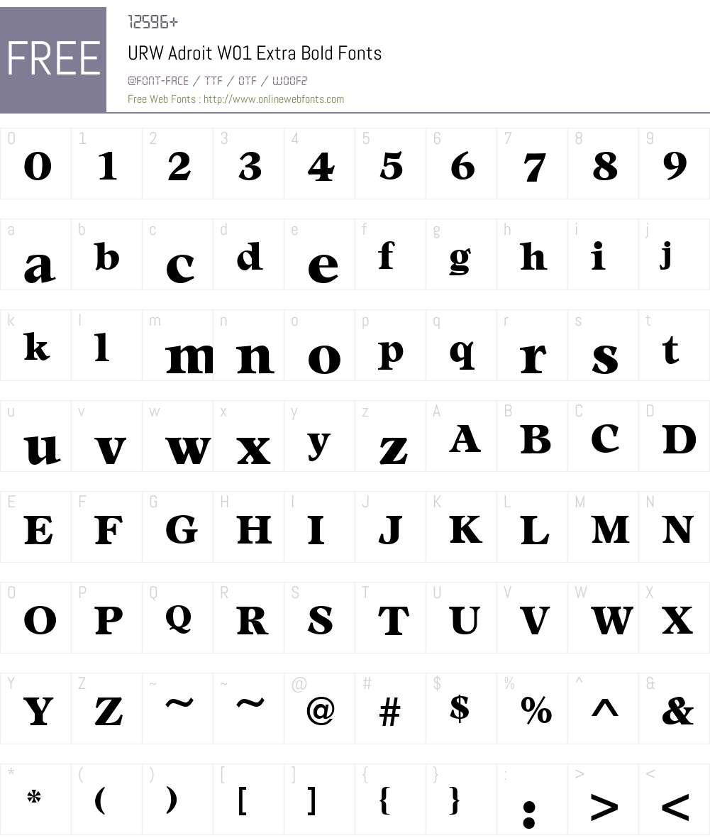 URWAdroitW01-ExtraBold Font Screenshots