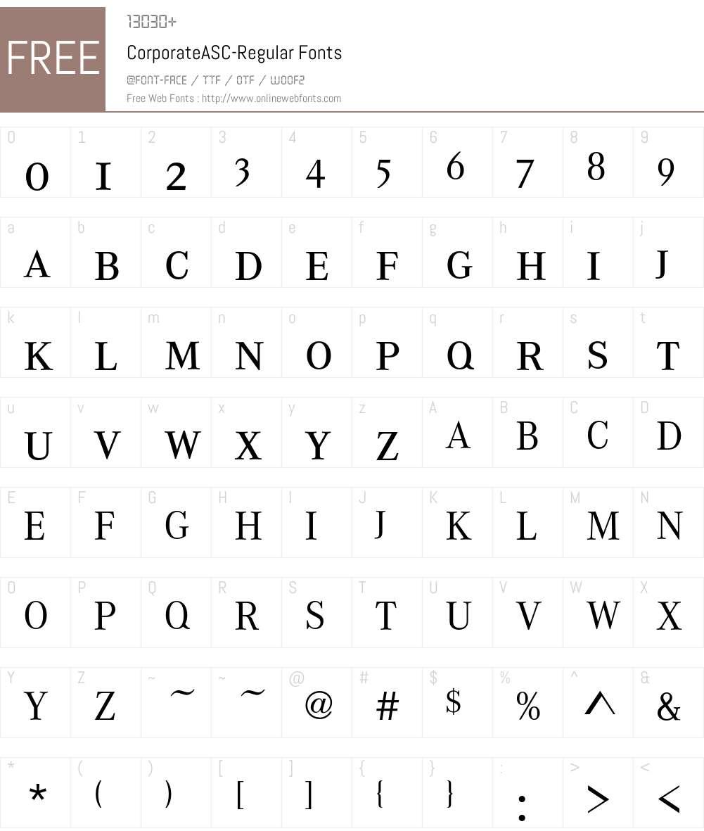 CorporateASC Font Screenshots