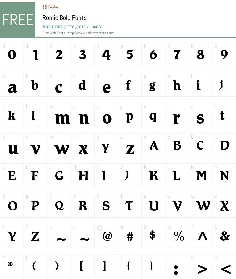 Romic Font Screenshots
