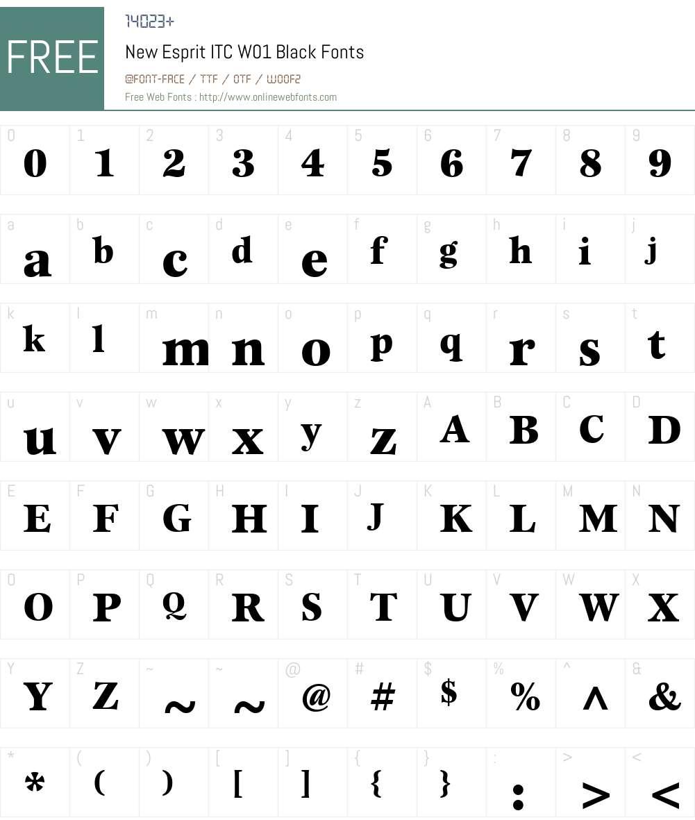NewEspritITCW01-Black Font Screenshots