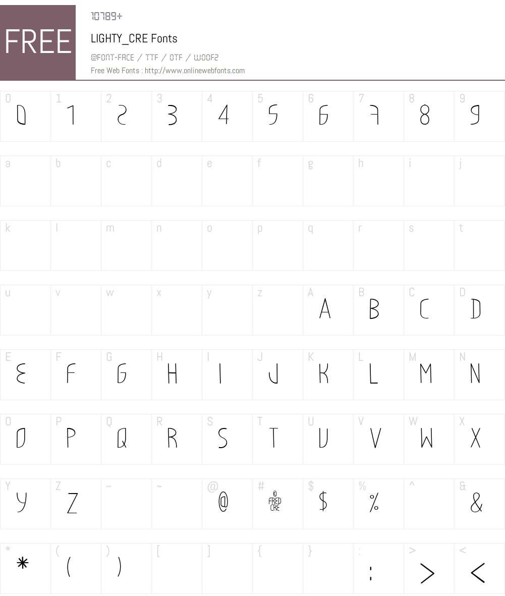 LIGHTY_CRE Font Screenshots