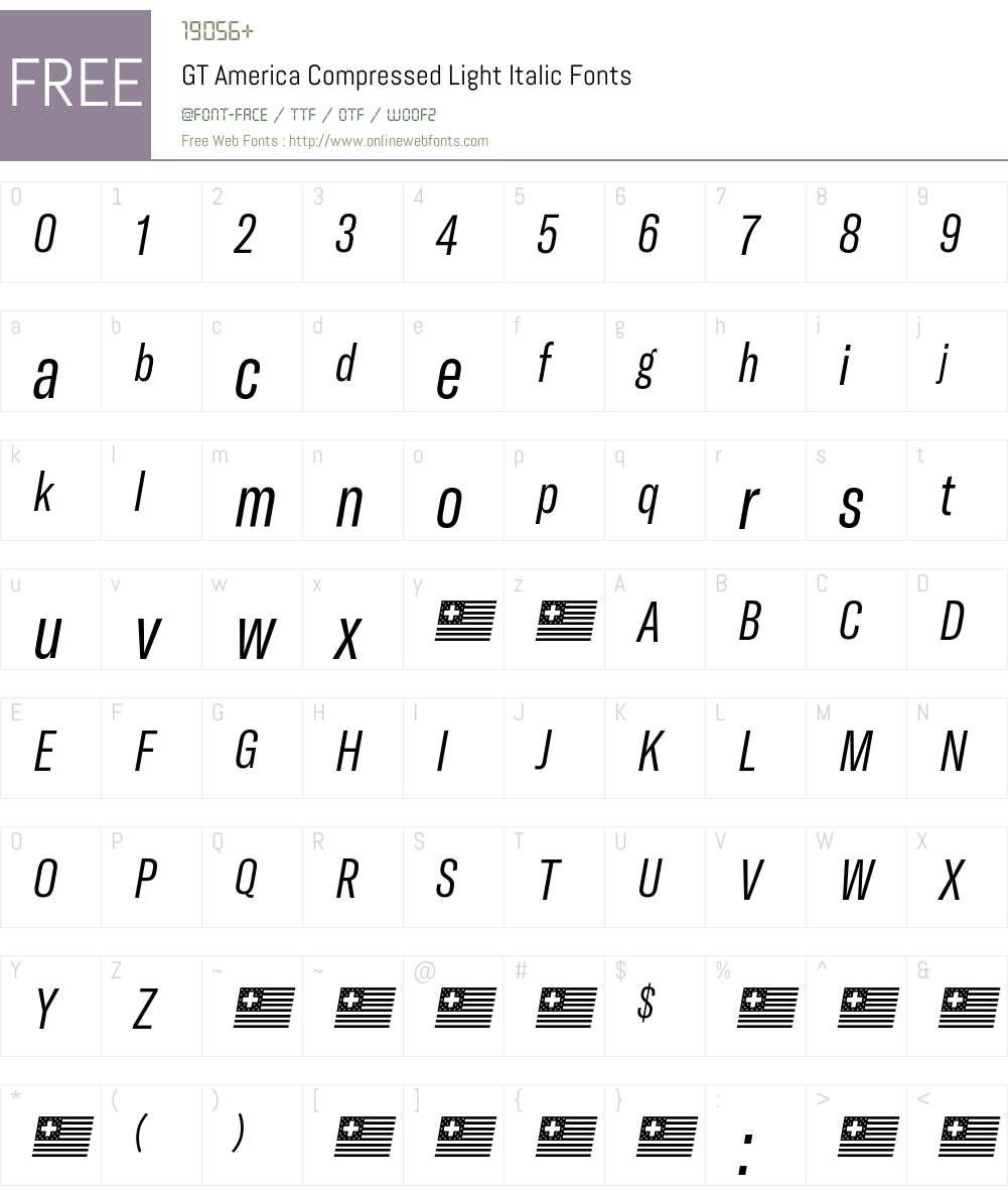 GT America Compressed Light Font Screenshots