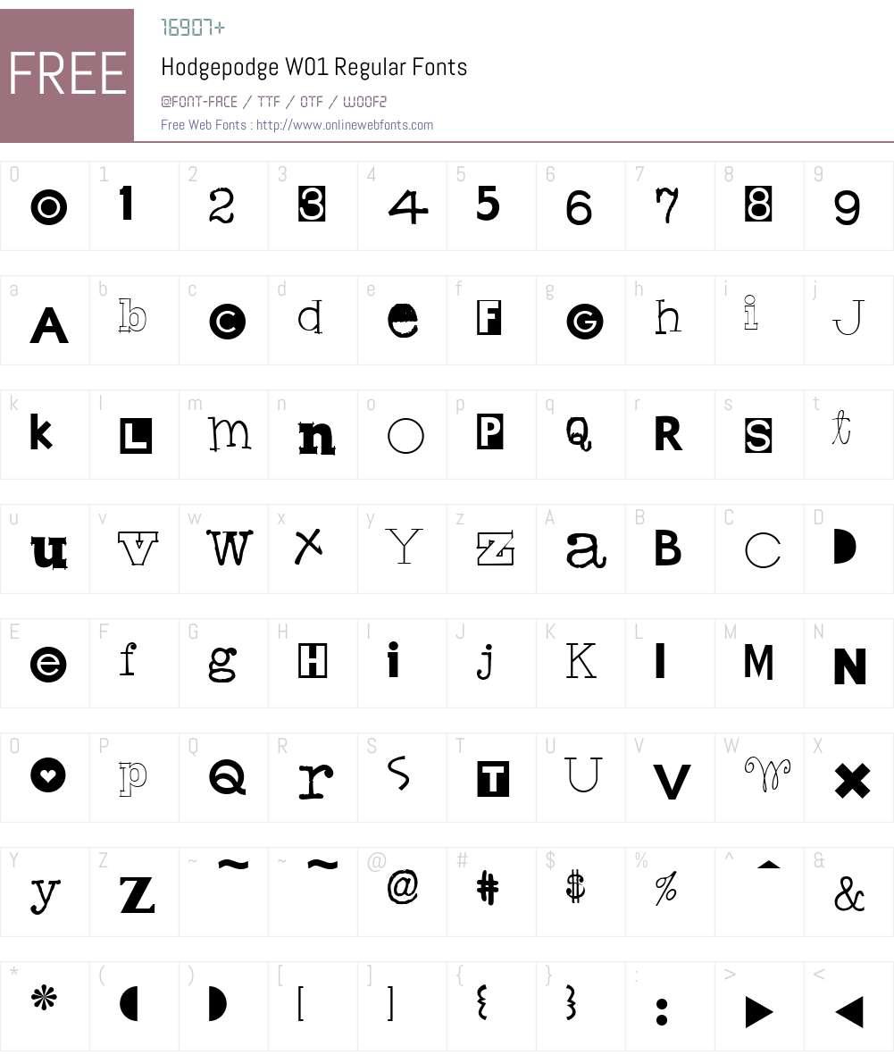 HodgepodgeW01-Regular Font Screenshots