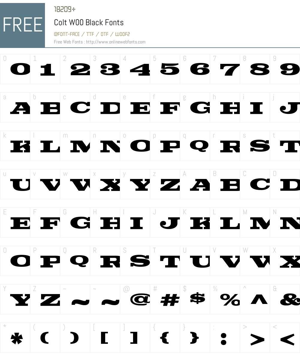 ColtW00-Black Font Screenshots