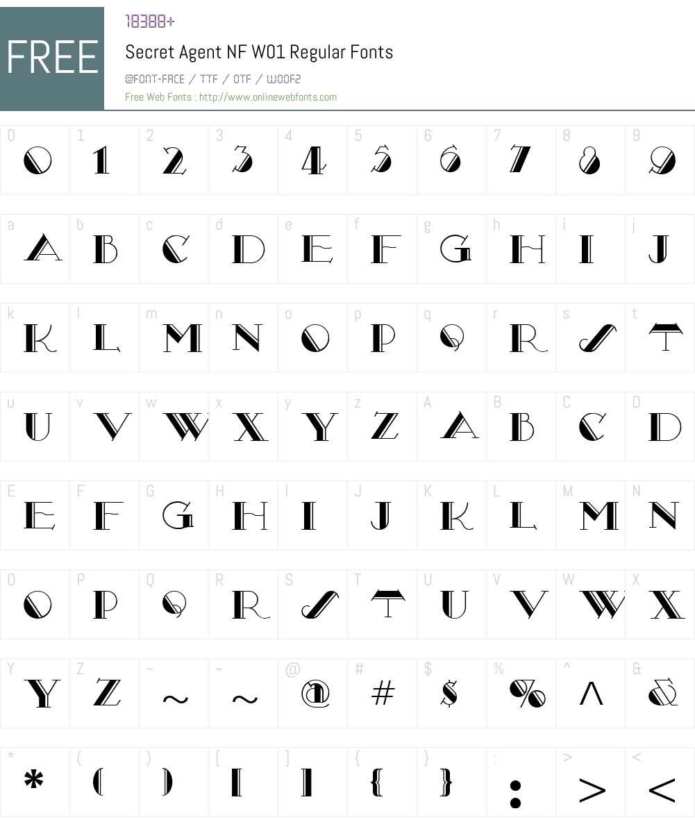 SecretAgentNFW01-Regular Font Screenshots