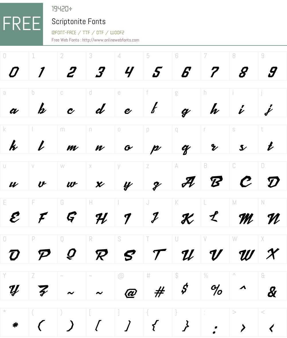 Scriptonite Font Screenshots