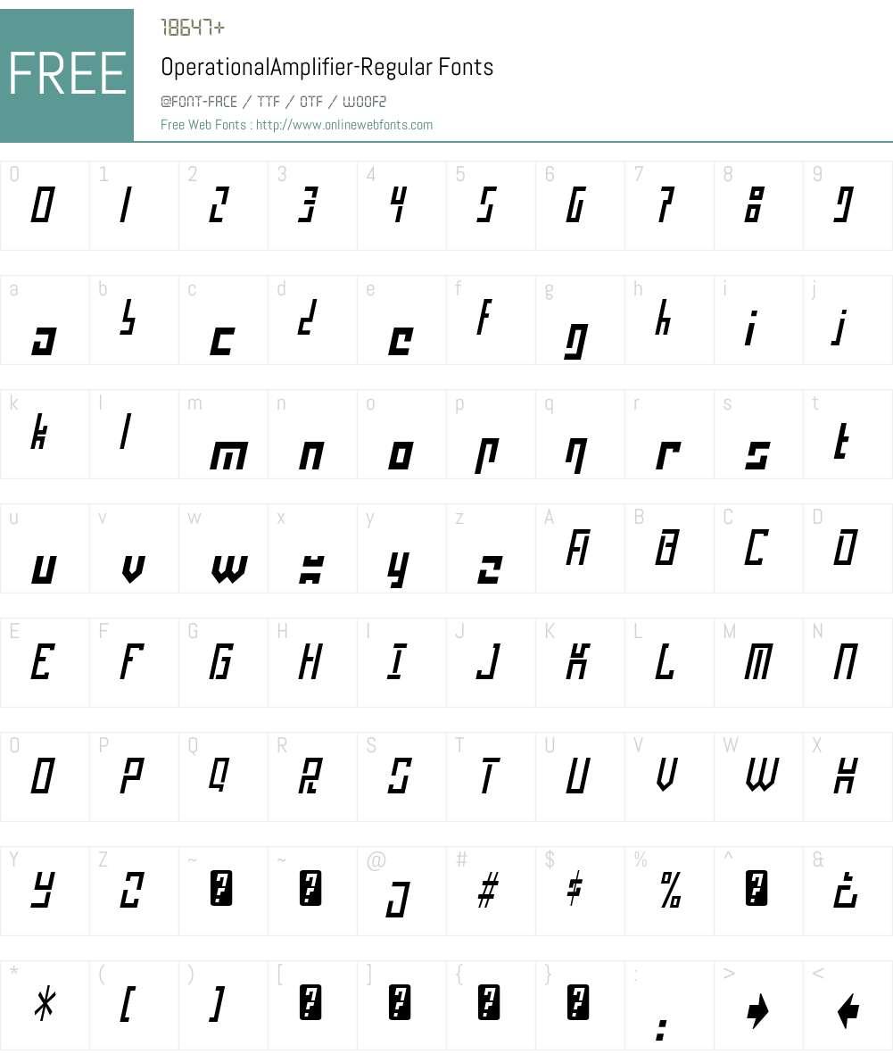 Operational Amplifier Font Screenshots