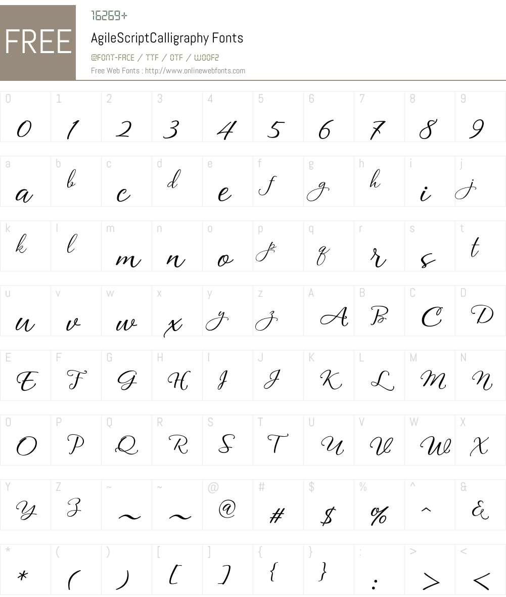 Agile Script Calligraphy Font Screenshots
