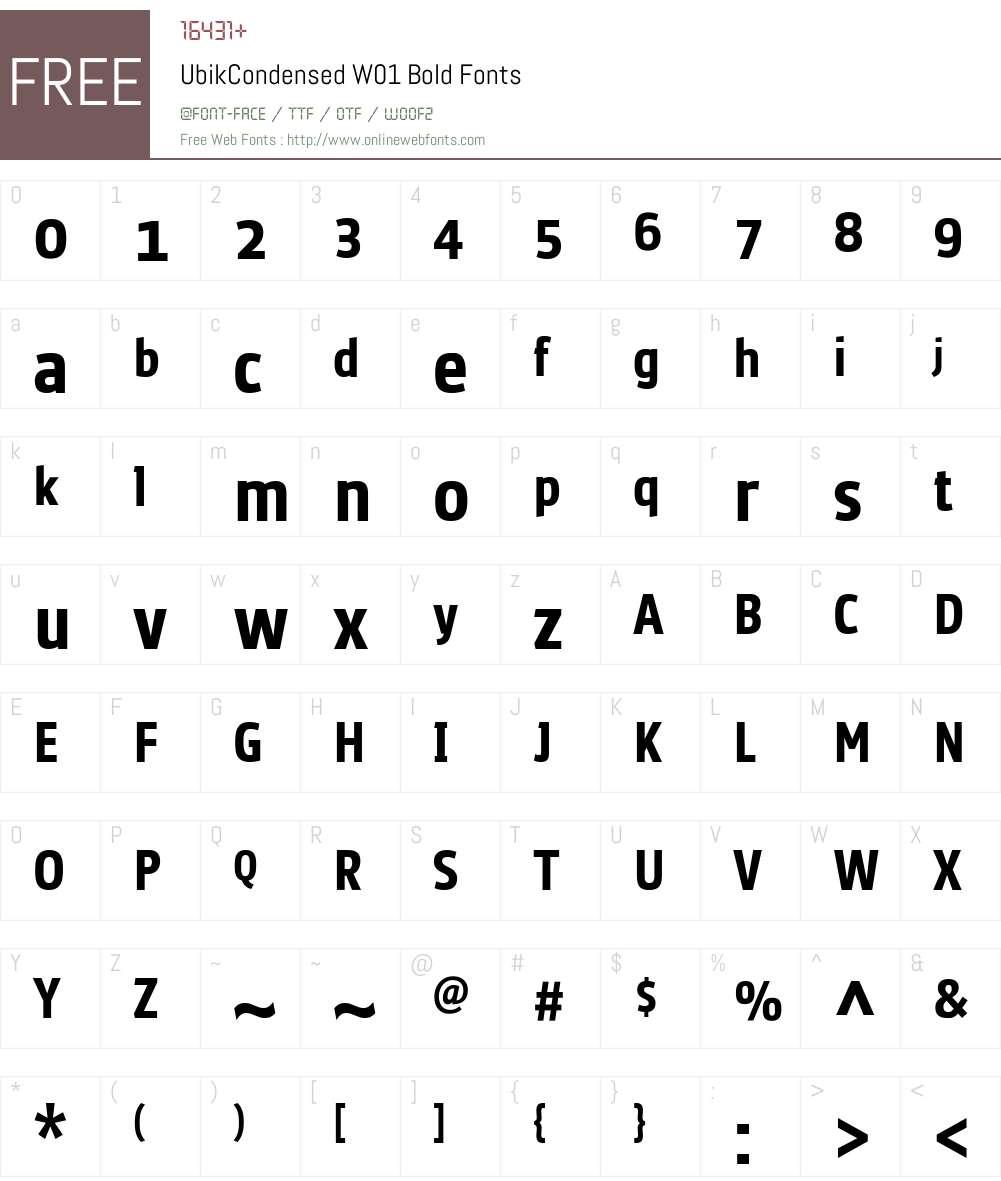 UbikCondensedW01-Bold Font Screenshots