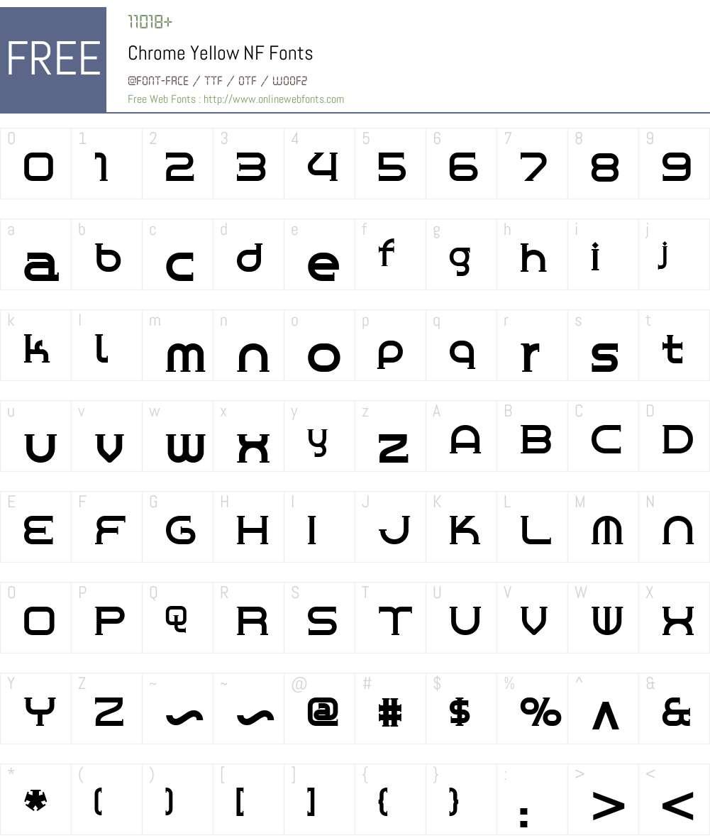 Chrome Yellow NF Font Screenshots