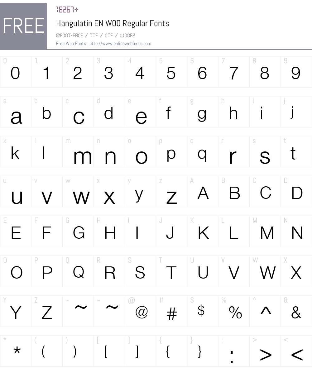 Hangulatin EN Font Screenshots