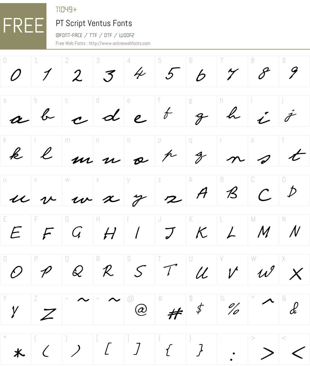 PT Script Ventus Font Screenshots