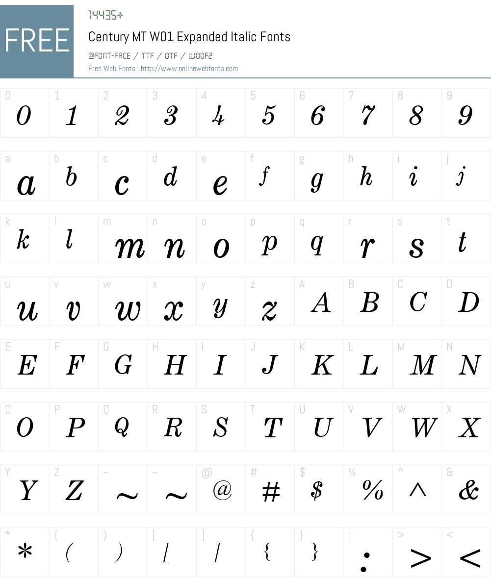 CenturyMTW01-ExpandedItalic Font Screenshots