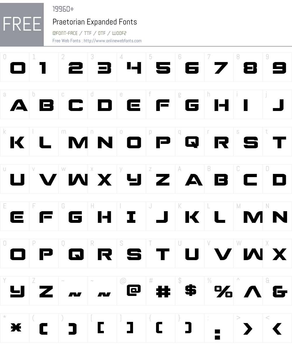 Praetorian Expanded Font Screenshots