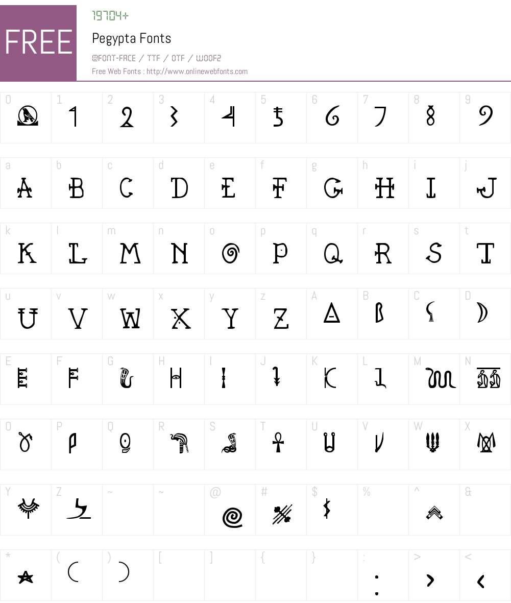 Pegypta Font Screenshots