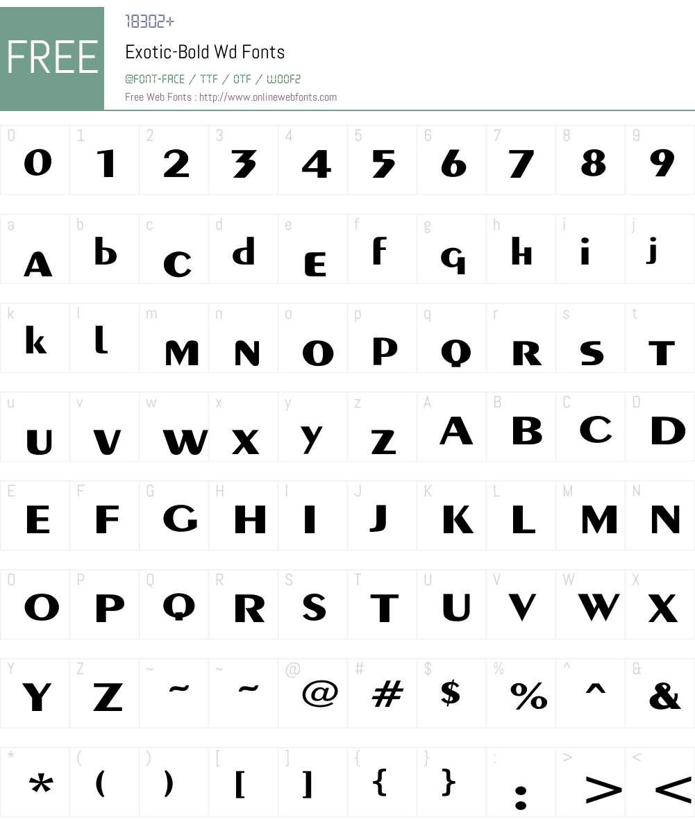Exotic-Bold Wd Font Screenshots