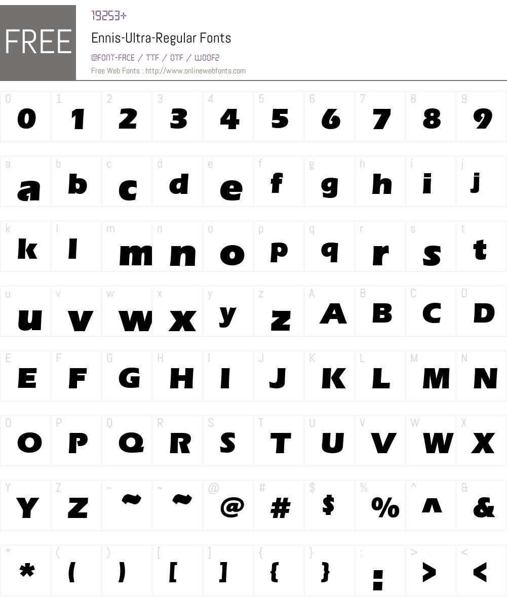 Ennis-Ultra Font Screenshots