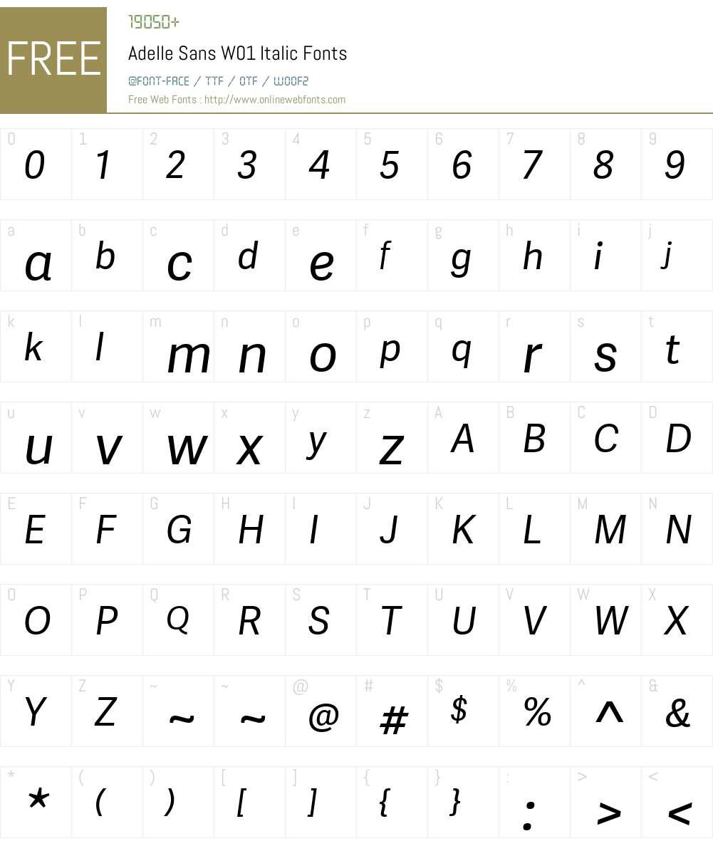 AdelleSansW01-Italic Font Screenshots