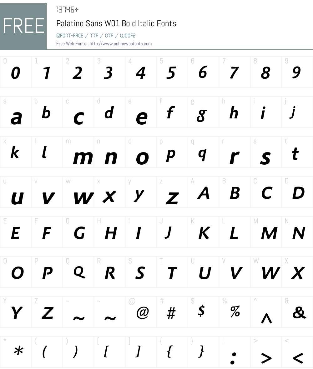 PalatinoSansW01-BoldItalic Font Screenshots