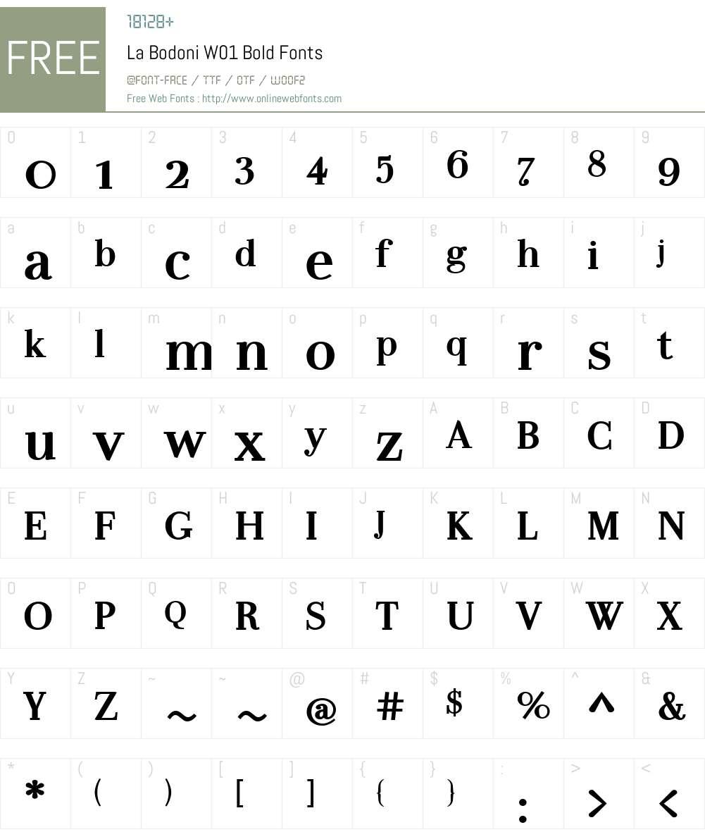 LaBodoniW01-Bold Font Screenshots