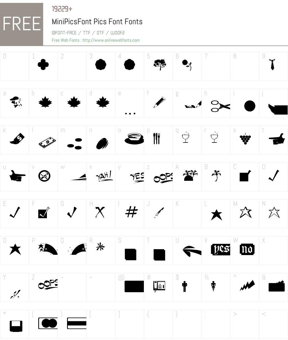 MiniPicsFont Font Screenshots