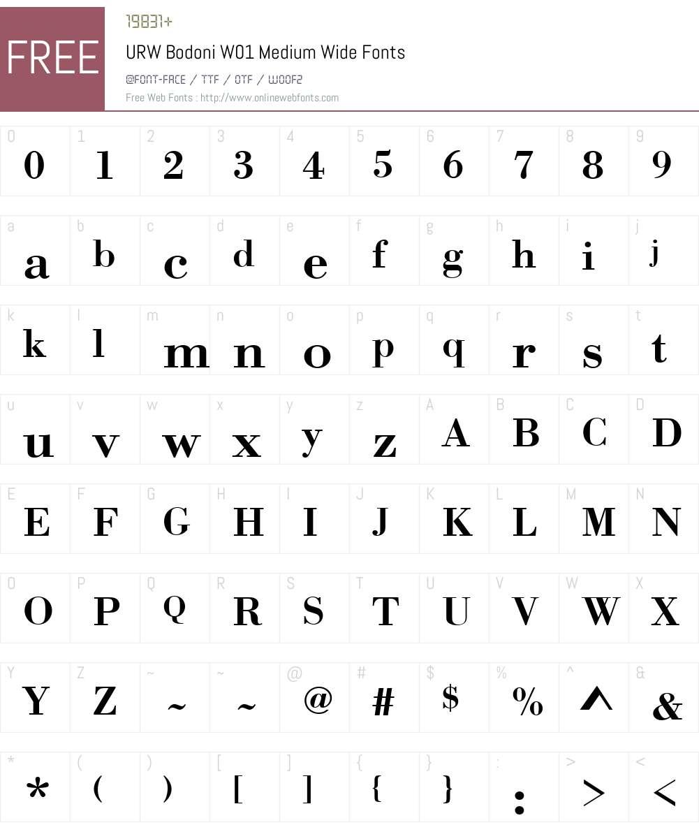 URWBodoniW01-MediumWide Font Screenshots