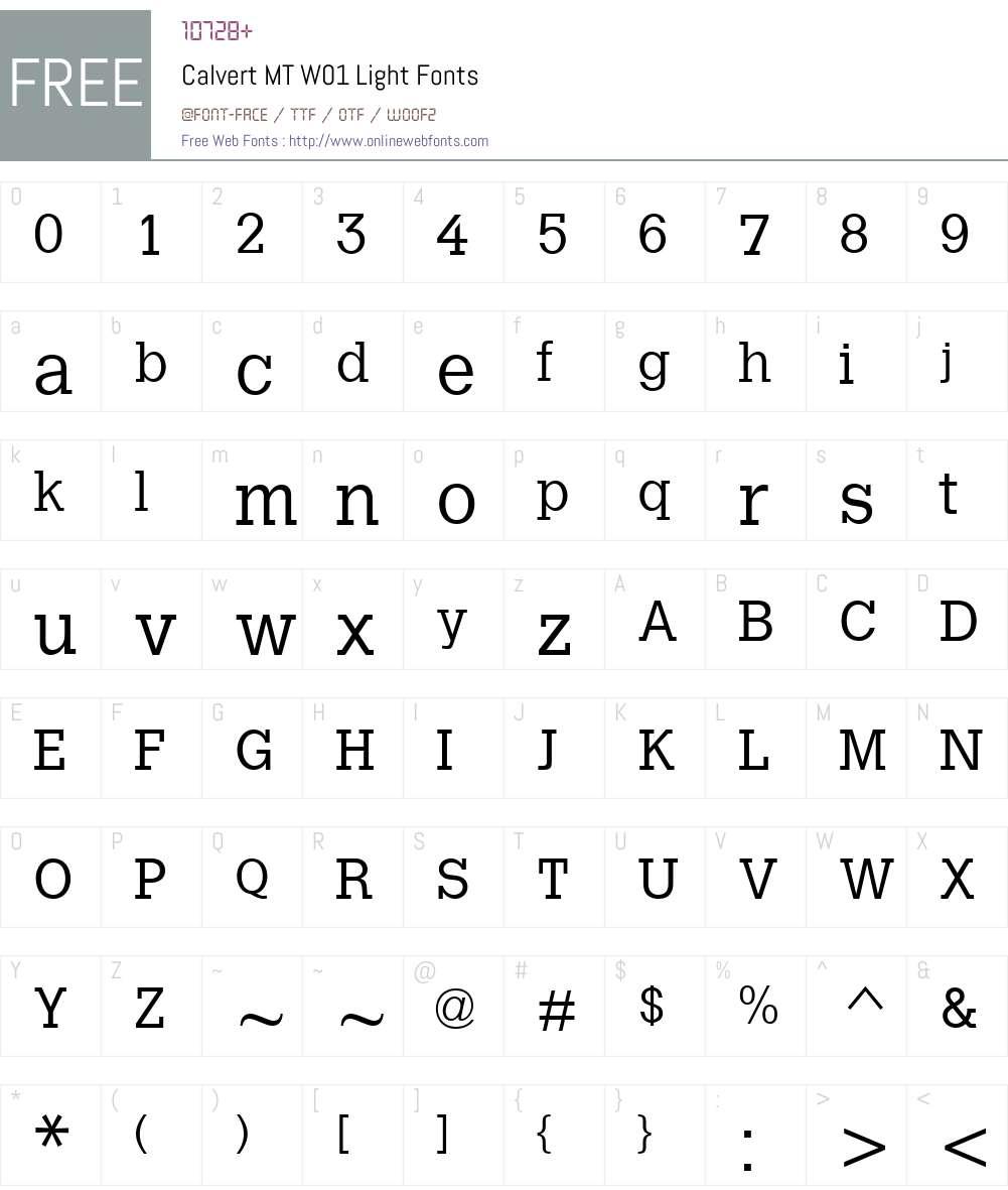 CalvertMTW01-Light Font Screenshots