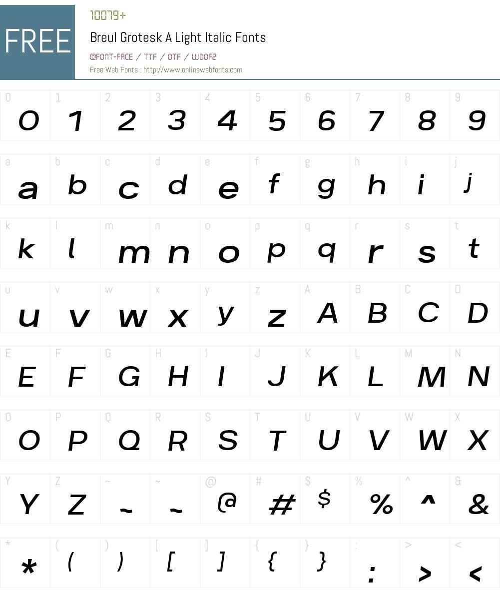 BreulGroteskA-LightItalic Font Screenshots