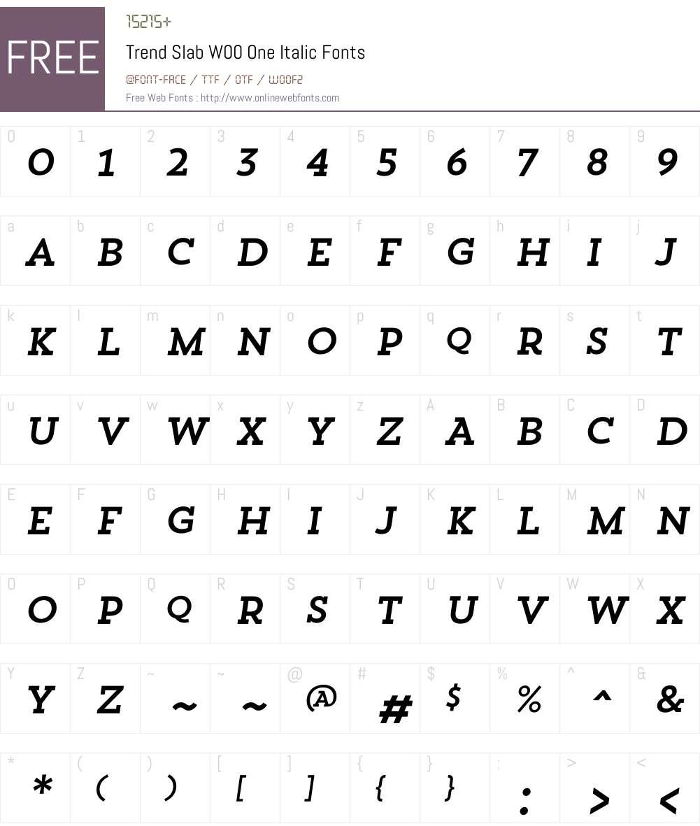 TrendSlabW00-OneItalic Font Screenshots