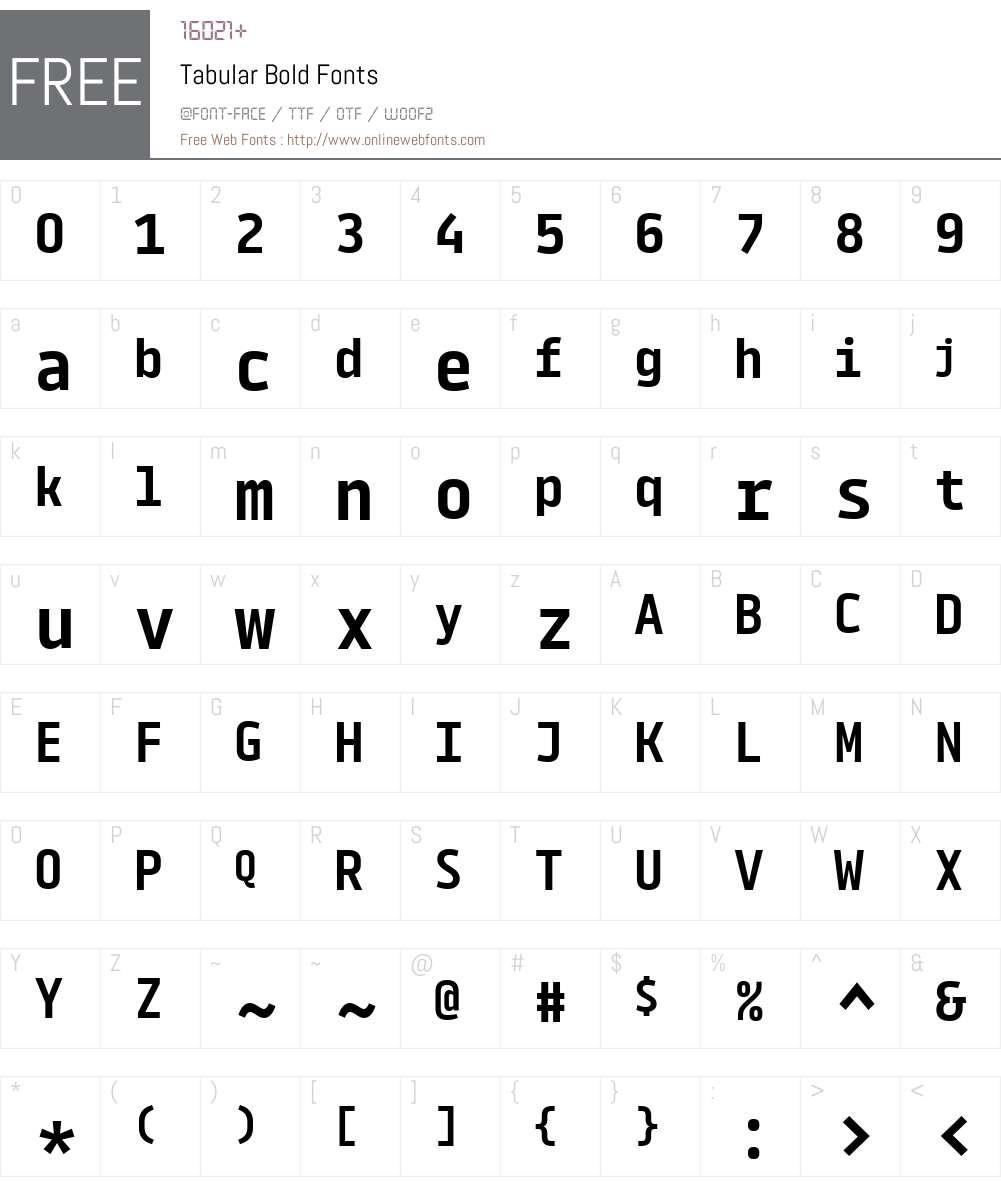 Tabular-Bold Font Screenshots