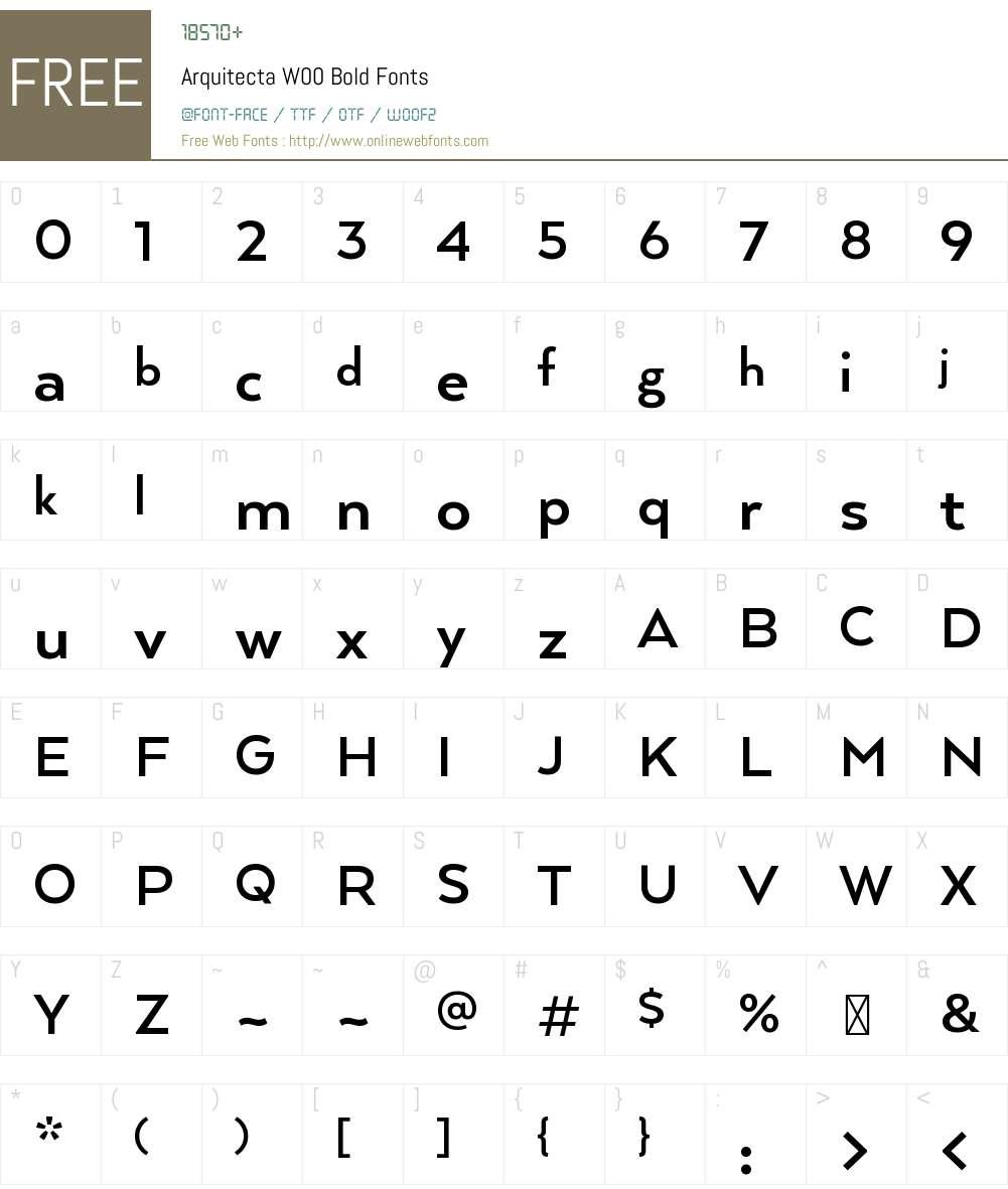 ArquitectaW00-Bold Font Screenshots