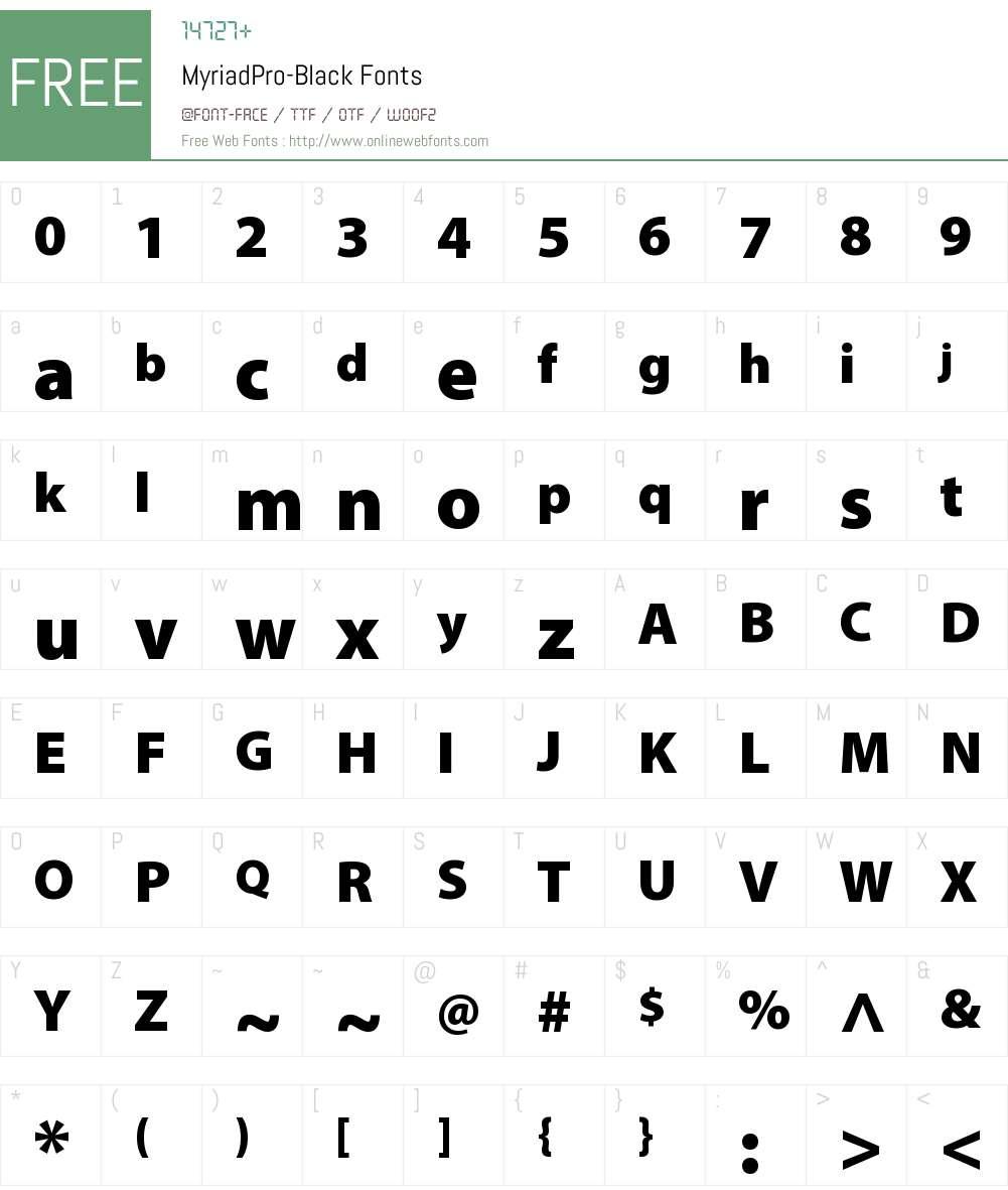 Myriad Pro Black Font Screenshots
