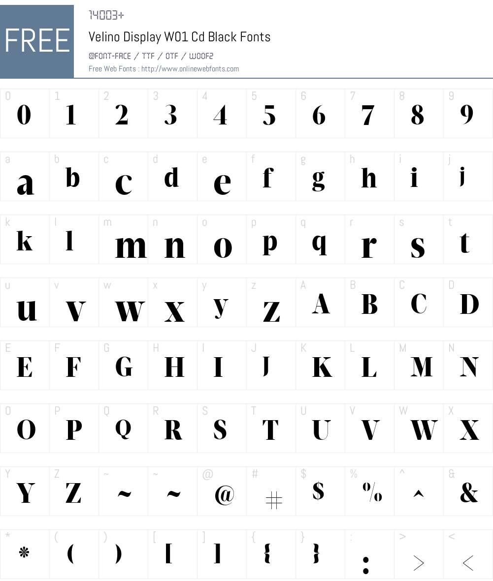 VelinoDisplayW01-CdBlack Font Screenshots