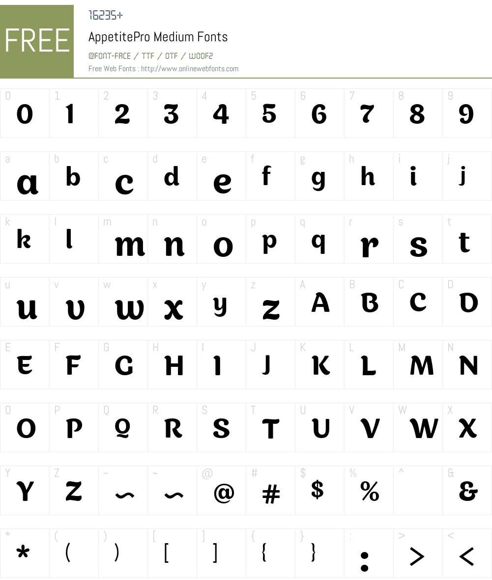 AppetitePro-Medium Font Screenshots