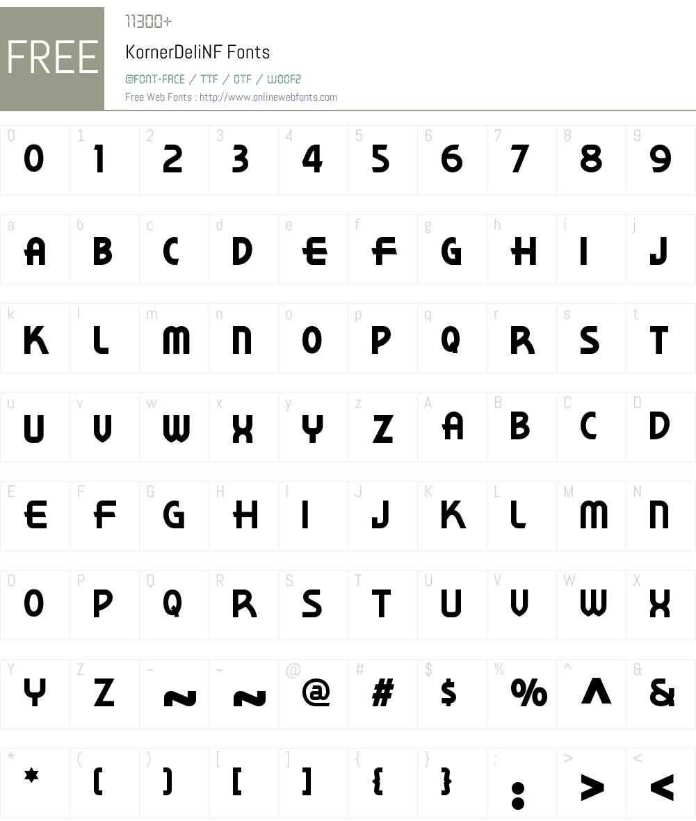 Korner Deli NF Font Screenshots