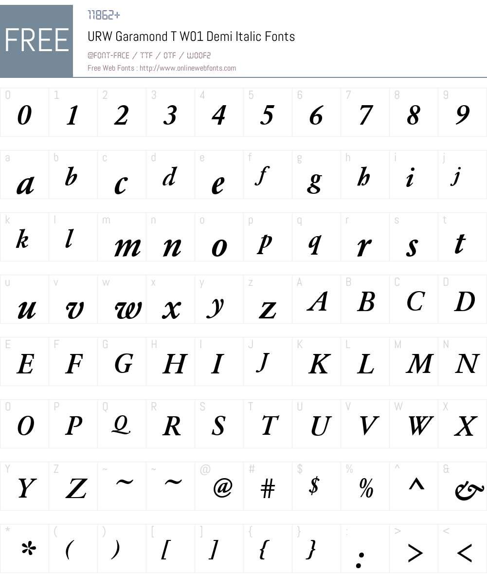 URWGaramondTW01-DemiItalic Font Screenshots