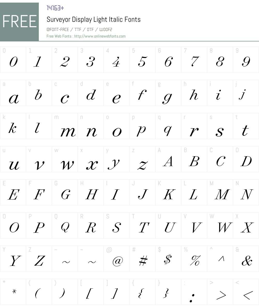 Surveyor Display Light Font Screenshots