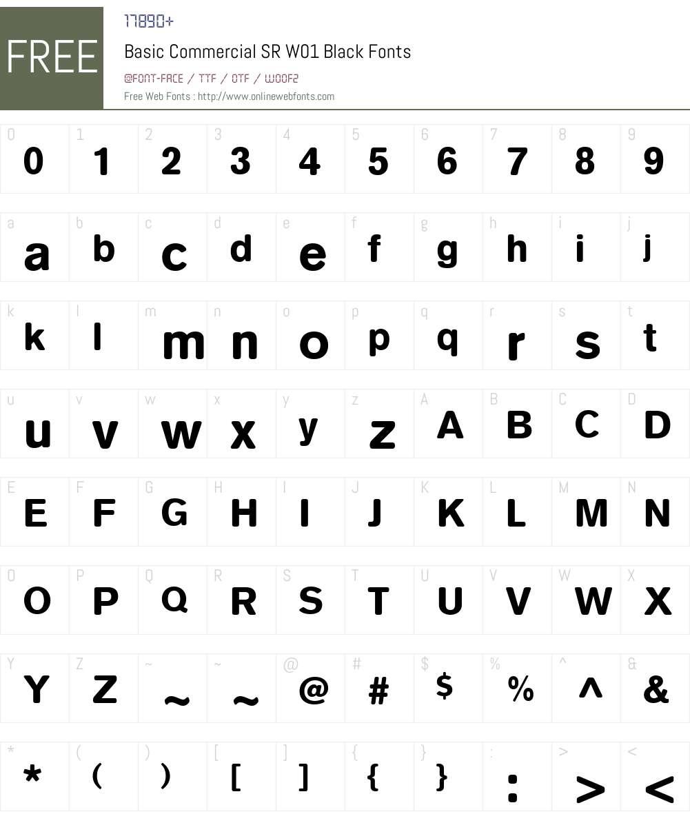 BasicCommercialSRW01-Black Font Screenshots