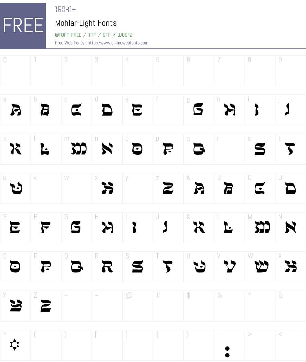 Mohlar-Light Font Screenshots