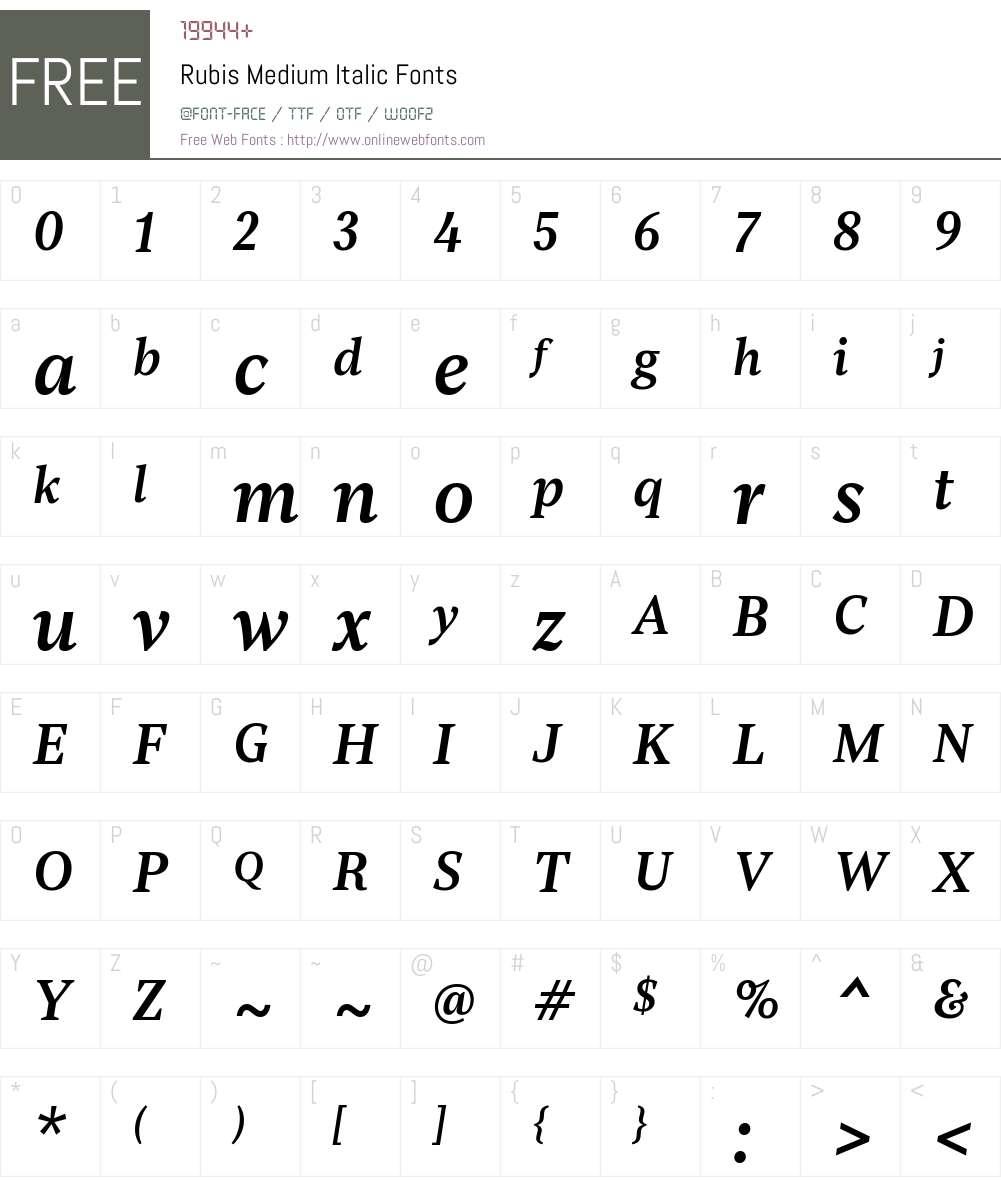 Rubis-MediumItalic Font Screenshots