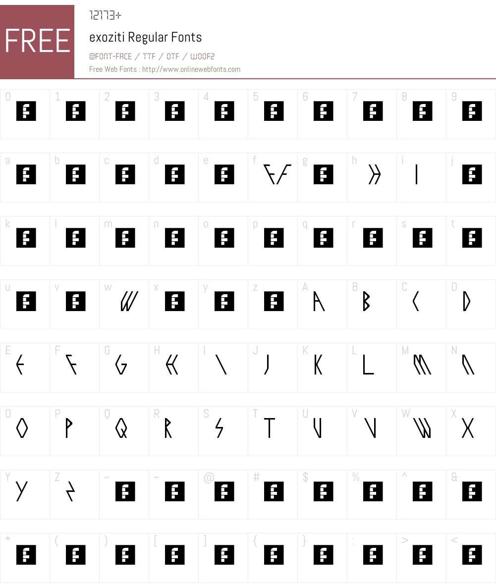 exoziti Font Screenshots