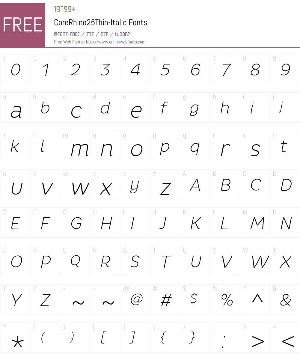 Core Rhino 25 Thin Font Screenshots