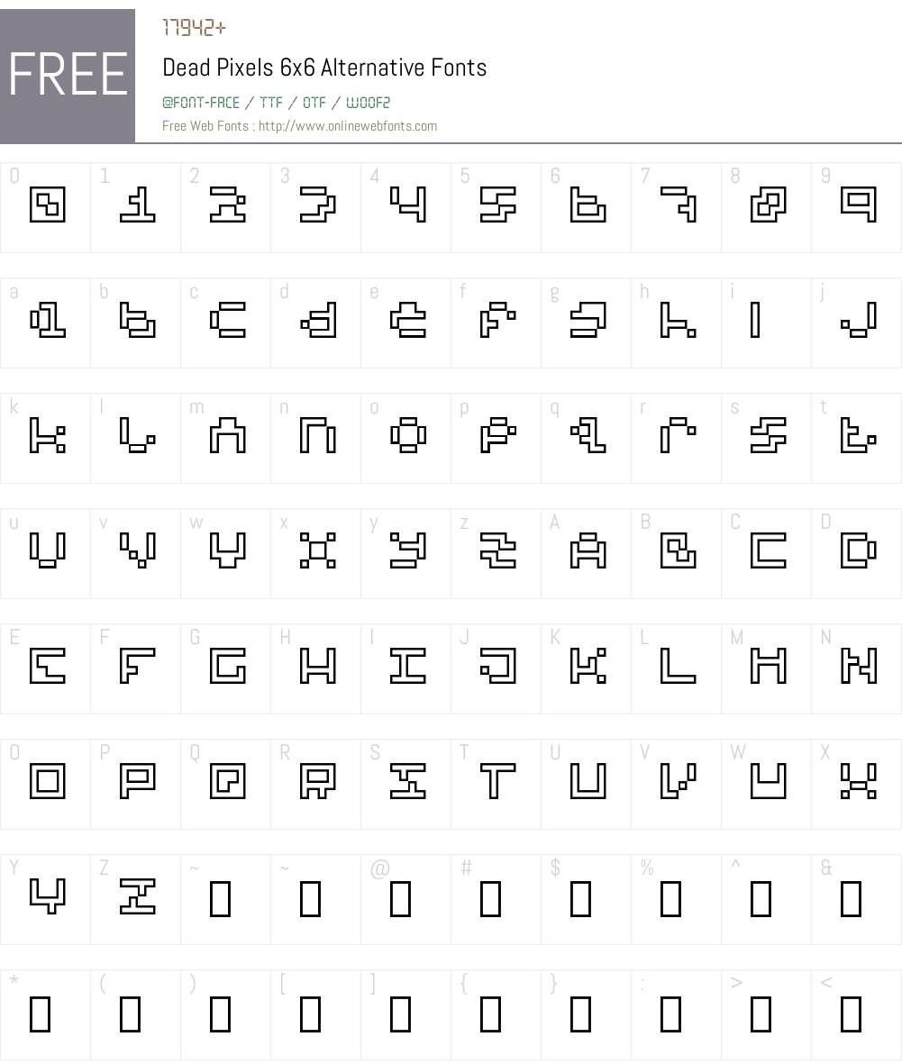 Dead Pixels 6x6 Alternative Font Screenshots