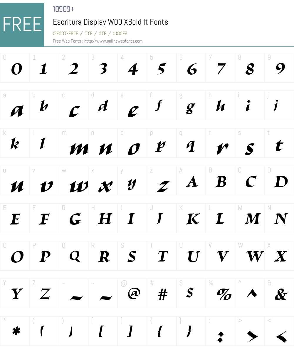 EscrituraDisplayW00-XBoldIt Font Screenshots